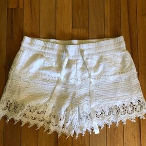 Beautiful White Crocheted Shorts